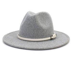 COMING SOON🎉 Light Gray White Belt Wool Felt Hat